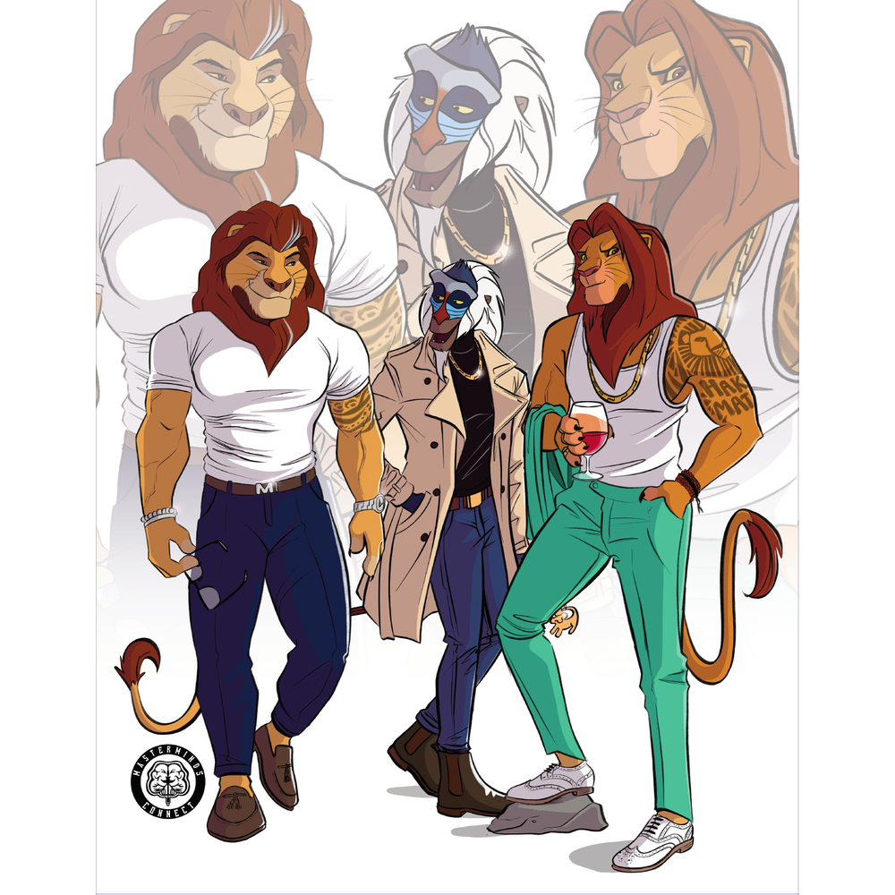 Mufasa, Rafiki and Simba Art Print