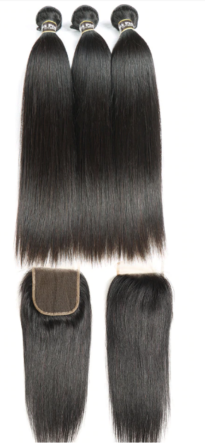 3 Virgin Brazilian Straight Bundles with closure(different sizes) - carevirginhair