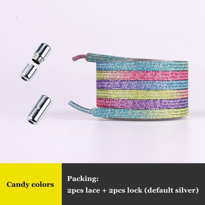 Uniquely Colorful Elastic No-tie Locking Shoelaces