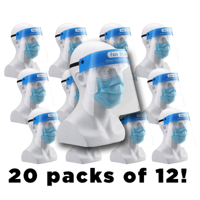 Case - Plastic Face Shields - 20 Packs of 12-Western Mask and Protective Equipment Inc