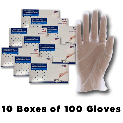 Case - Vinyl Gloves with 10 Boxes of 100-Western Mask and Protective Equipment Inc