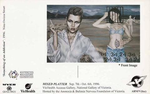 National Gallery of Victoria, Promotional Postcard, Mixed Platter Exhibition 'Something of an Addiction' Sept 1996