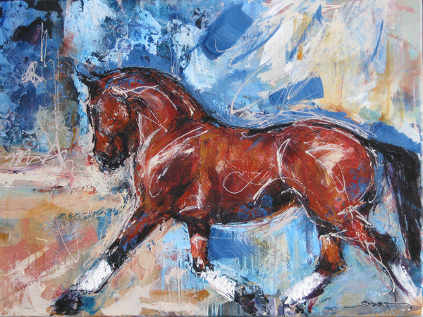 """Freestyle Dressage"" Original Painting on Canvas of a bay Warmblood horse with white leg bandages. By Nina Smart"
