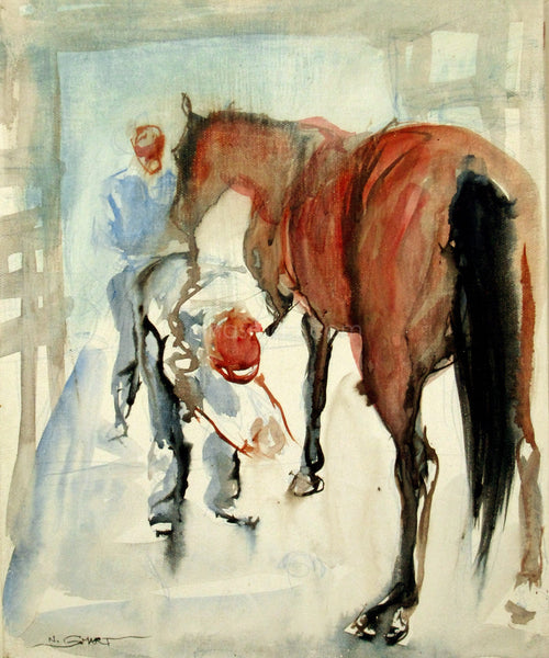 The Local Farrier, Watercolour - Private Collection