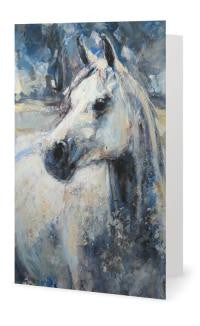 """Grey Gelding"" painting is now available as quality full colour, 7 x 5"" Folded Greeting Cards."