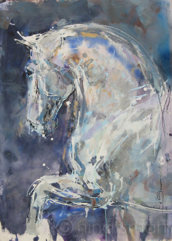 Modern horse art. Artwork Title: Ancient War Horse  Description: Contemporary horse art featuring a strong, muscular grey/white horse strideing forward with arched neck and ears pricked.   Original acrylic and ink painting by Nina Smart. Signed Lower Right. 2017  Dimensions: approx 22 x 30in  (56 x 76 cm)  Substrate: Acid free. heavy weight watercolour paper, unframed.