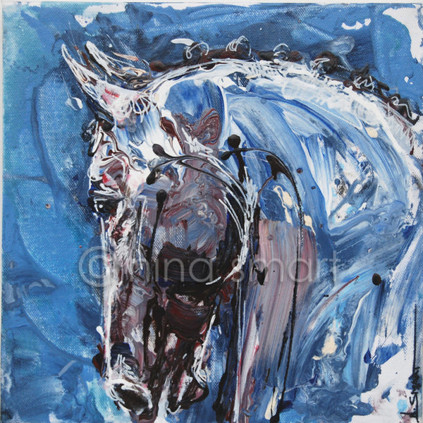 New contemporary horse painting by Equine Artist. Title: Arched Description: A loose and freestyle contemporary painting of a horse with arched neck and competition braids.   Original acrylic painting by Australian artist, Nina Smart. Signed Lower Right. December 2016  Dimensions: 12 x 12  x 1.5 inch (30.5 x 30.5 x 4cm) deep wrapped stretched canvas, back stapled.