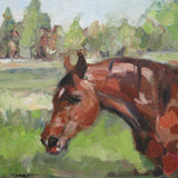 "Title: Bay Horse in Autumn Original oil painting by Nina Smart. Signed Lower Left Image Size: 12 x 12"" (30 x 30cm) Bay horse head with snip and star on forehead. Standing in open field during autumn. Impressionist style, new condition."