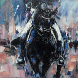 "New horse painting by contemporary Equine Artist. Title: Black Dressage Horse, Half Pass  Description: A painting for the Equestrian enthusiast inspired by the legendary ""Totilas"". A brilliant black dressage horse performing half pass for his rider, an intimate view from front on.   Original acrylic painting by Australian artist, Nina Smart. Signed Lower Right. December 2016"