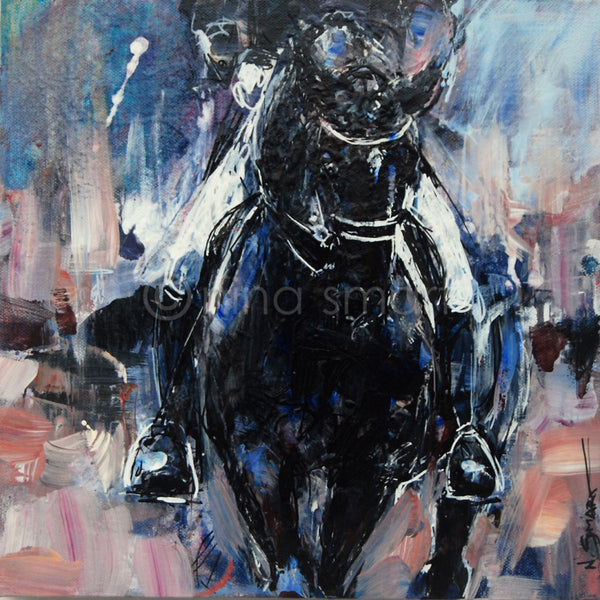 "Black Dressage Horse, Half Pass. 12x12"" Canvas"