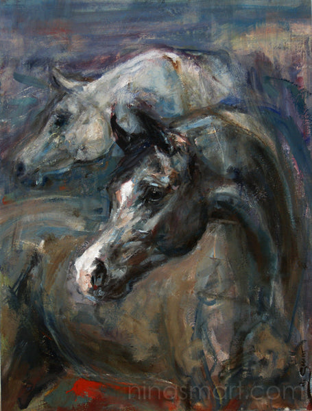 Two Horse heads oil painting on canvas by Nina Smart. A beautiful black Arabian stallion arching his neck with white Arabian horse in background