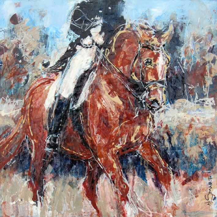Artwork Title: Western Pleasure  Original acrylic painting by Nina Smart.  Unique equine art, painting on canvas of a chestnut Dressage horse in canter across a field, with rider.