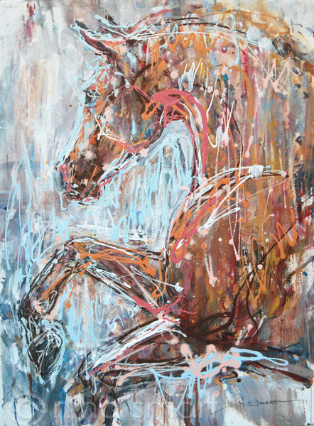 New horse painting, Artwork Title: Carry On Carousel Pony  Description: A free flowing, abstract painting of a prancing Show Pony.   Original acrylic and ink painting by Nina Smart. Signed Lower Right. 2017  Dimensions: 22 x 30in  (56 x 76 cm)  Substrate: Acid free. heavy weight 600gsm watercolour paper, UNFRAMED.  Pink and gold splatter paint