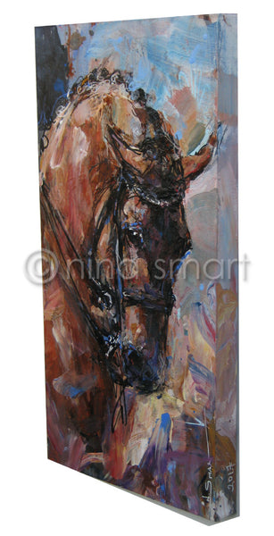 Right side view. Artwork Title: Double Bridled Bay (Dressage Horse) Description: This painting depicts a bay Dressage horse in a double bridle during a moment of collection.  Original acrylic painting by Nina Smart. Signed Lower Right. February 2017  Dimensions: 10 x 20  x 1.5 inch (25.5 x 50.5 x 4cm) deep wrapped stretched canvas, back stapled.  Hanging wire installed. Ready to hang. Additional framing is not required but optional.  ONE ONLY, hand crafted equine art at it's best. collectible.