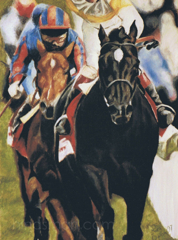 "A head on view of Thoroughbred horses racing down the straight to the finish line. A unique gift idea for a T.B. racing enthusiast.  Soft pastel pigment on paper. Selling unframed for safer shipping.   Image size: 30 x 22"" (76 cm x 56 cm)  Original, signed by Nina Smart. 1997"