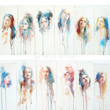 "Nina Smart, new contemporary art, ""The Changing Face of Now"" No.1 to 12 watercolor portraits on paper, abstract realism."