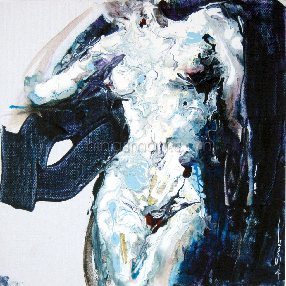 Nina Smart New Contemporary Artist Title: Fluid Nude No.1  Description: A contemporary painting of female nude torso. Blue and Indigo tones. Original painting by Australian artist, Nina Smart. Signed Lower Right. April 2016