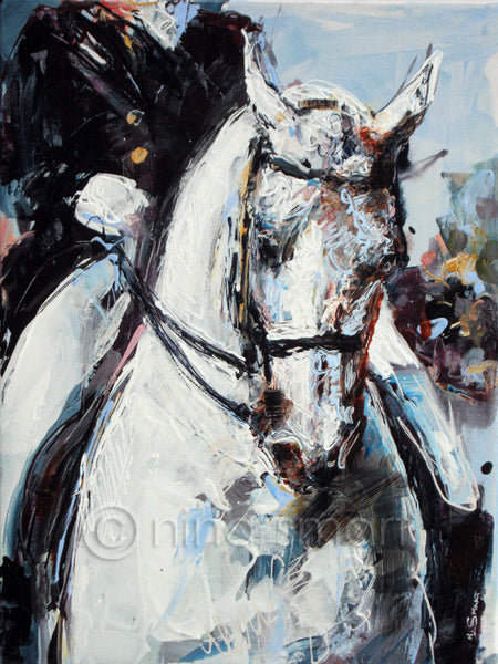 "Contemporary Equine Art. Title: Grand Prix  An abstract realist painting of a white Grand Prix Dressage Horse in double bridle. Original acrylic painting by Nina Smart. Signed March 2016  Dimensions: 12 x 16"" (30 x 40cm)"