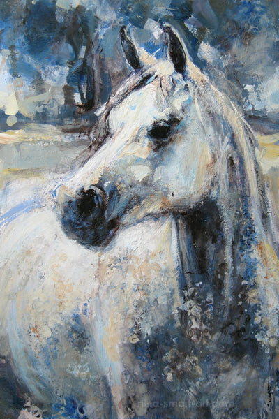 Grey Gelding, Acrylic on Canvas 24 x 35""