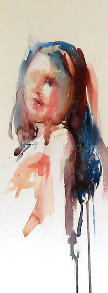"Nina Smart, new contemporary art, ""The Changing Face of Now"" No.1 watercolor portrait on paper, abstract realism.  Approximately 15 x 45cm"