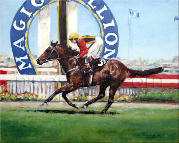 "Original Oil on Canvas horse portrait by Australian Artist, Nina Smart. ""Pearly Shells"" owned by Mrs J.A. Pixley, C.A. McAlpine & Sir E. Stewart winning the Gold Coast Turf Club Maiden Handicap 1400m on 12-11-1994."