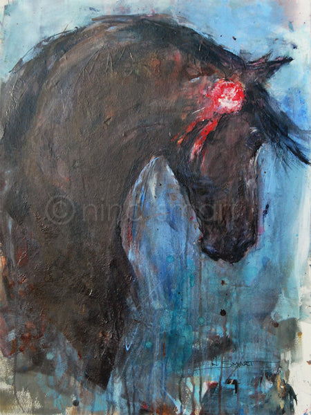Romantic horse art. Artwork Title: Prize Stallion Description: A moody, expressionist style horse head painting featuring a proud dappled black/brown stallion with his red prize rosette on his bridle.  Original acrylic and ink painting by Nina Smart. Signed Lower Right. 2017  Dimensions: approx 22 x 30in  (56 x 76 cm)  Substrate: Acid free. heavy weight watercolour paper, unframed. Australia