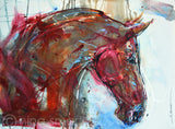 Unique abstract horse art, original by artist Nina Smart. Artwork Title: Red Horse-head  Description: A free flowing, stylistic painting of a horse-head in profile view.   Original painting by Nina Smart. Signed Lower Right.  2017  Dimensions: 22 x 30in  (56 x 76 cm).  Rusted brown and pale blue color, drips, paint splatter and texture.