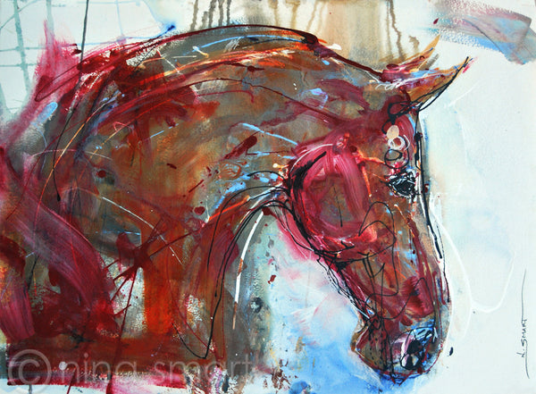 Red Horsehead, 22x30in Paper