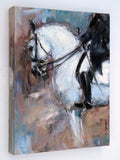 Title: Elite Dressage   Description: An expressionist style painting of a grey (white) Grand Prix Dressage horse being put through its paces by an elite rider.  Original painting by Australian artist, Nina Smart. Signed Lower Right. Feb 2016