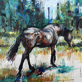New horse painting by contemporary equine artist. Title: Brown Mare Walking  Description: Modernist style, unique painting of a brown mare walking away through dry, summer pasture towards a distant treeline.  Original acrylic painting by Australian artist, Nina Smart. Signed Lower Right. Feb 2016