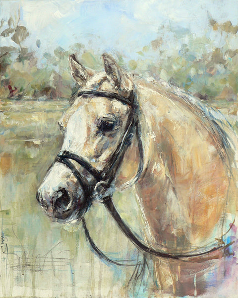 "Nina Smart. Horse Art, Equine Art, new art style. Contemporary painting of a palomino pony gelding, Dexter.  Commissioned by Dexter's owner.  Original acrylic painting by Australian artist. Signed Lower Left. March 2016  Dimensions: 20 x 16""  Stretched canvas"