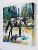 side view. New horse painting by contemporary equine artist. Title: Brown Mare Walking  Description: Modernist style, unique painting of a brown mare walking away through dry, summer pasture towards a distant treeline.  Original acrylic painting by Australian artist, Nina Smart. Signed Lower Right. Feb 2016