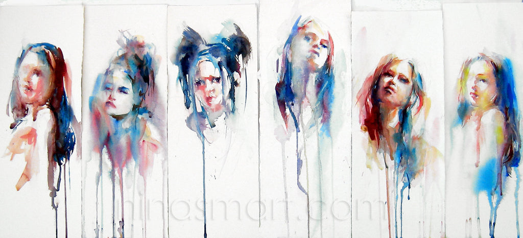 "Nina Smart, new contemporary art, ""The Changing Face of Now"" is the artist's signature piece. Winning the ""People's Choice"" Award at The Willamstown Contemporary Art Prize. Watercolor portraits with drips."