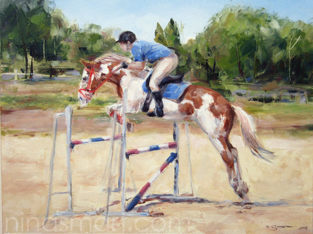Equine Art, horse & rider portrait. Paint colored horse, show jumping in sand arena. Original oil painting by Nina Smart, Australia