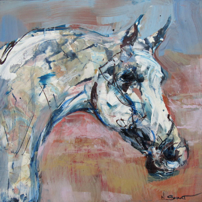 Artwork Title: Western Pleasure  Original acrylic painting by Nina Smart.  Unique equine art, painting on canvas of grey appaloosa horse-head.