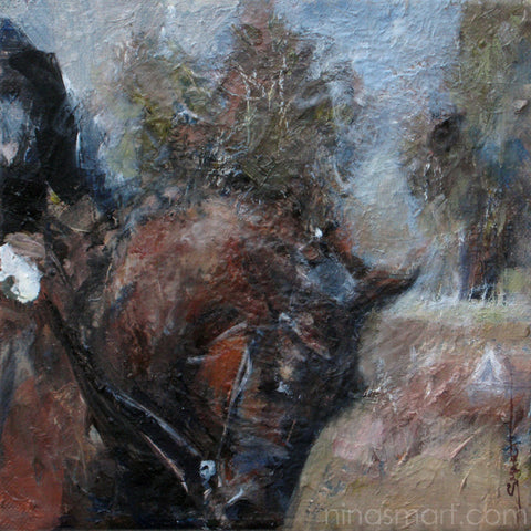 Unofficial Dressage Day, Oil on Canvas 8 x 8""