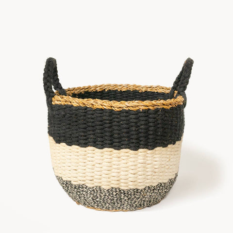 Ula Stripe Basket - Black