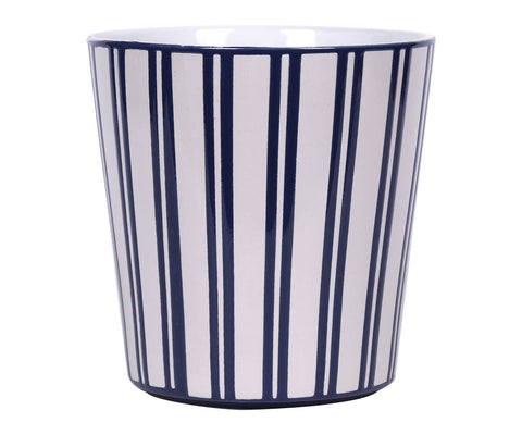 "4.25"" Wide Blue Stripe Flower Pot"
