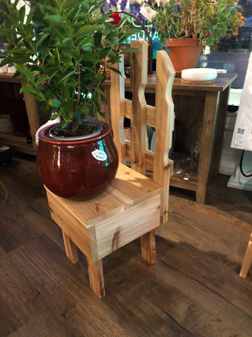 Chair-style plant stand/child-size chair hand crafted locally in Pine