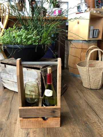 Hand crafted wood 2-bottle wine caddy
