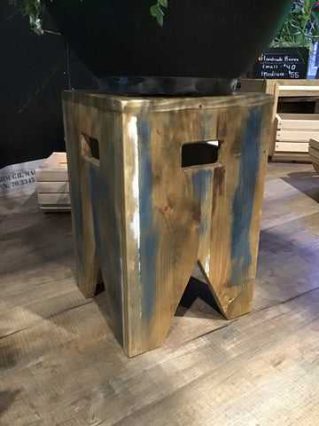 Square reclaimed wood stool with distressed paint