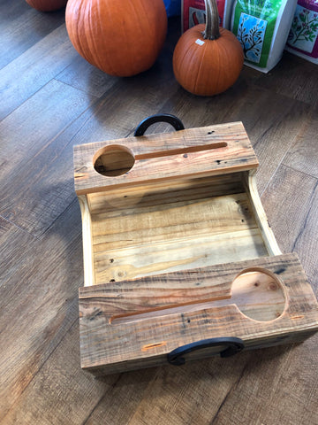Hand crafted pallet beverage trays with horseshoe handles