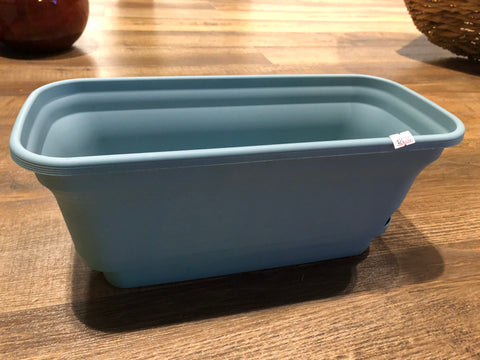 "15"" wide self-watering blue rectangular planter pot"