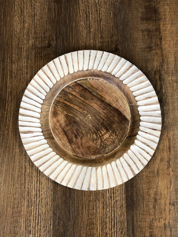 "Decorative carved wood plate, 14"" round"