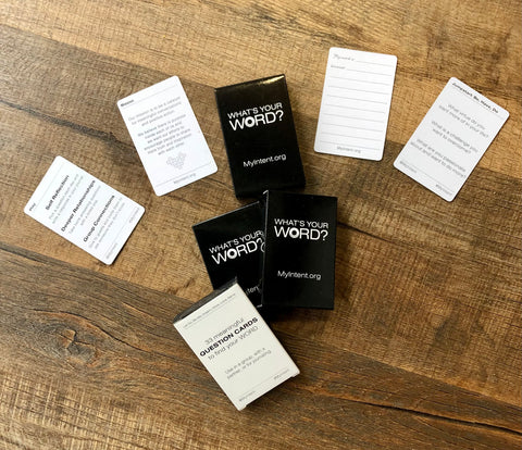 WHAT'S YOUR WORD - Inspirational conversation prompt card game by MyIntent.org
