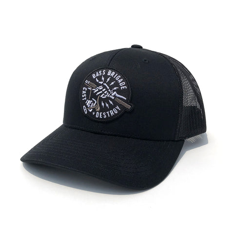 BB Skull Hand Trucker Hat - Black Retro Trucker