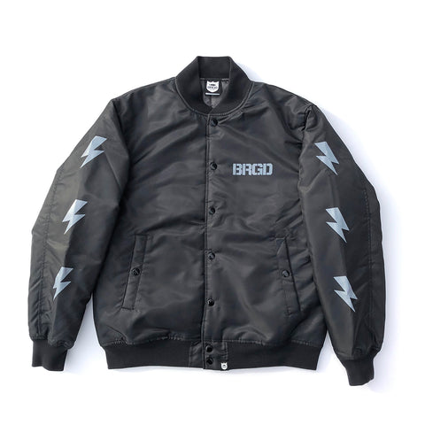 BRGD Division Satin Varsity Jacket - Black/Grey