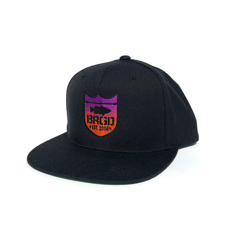Shield Logo Gradient Snapback Hat - Black/Sunset