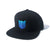 Blank Shield Snapback Hat - Black