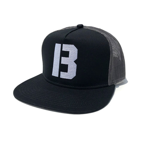 B Logo Trucker Hat - Black/Charcoal